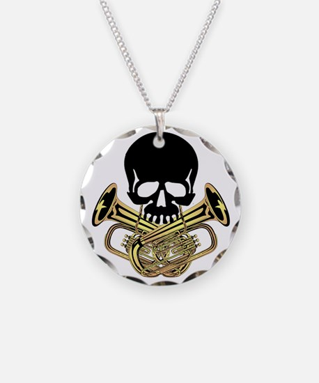 Skull with Tuba Crossbones Necklace