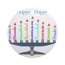 Spelling Chanukah 2 Round Ornament