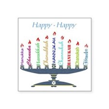 "Spelling Chanukah 2 Square Sticker 3"" x 3"""