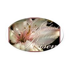 Christ is Risen Oval Car Magnet