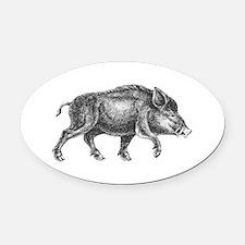 Wild Boar Oval Car Magnet
