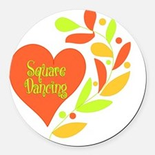 Square Dancing Heart Round Car Magnet