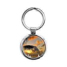 Sunset North Shore Oahu Round Keychain