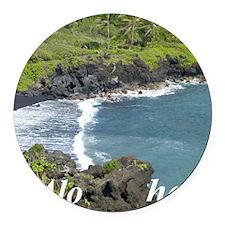 Black Sands Beach Round Car Magnet