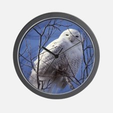 Snowy White Owl Wall Clock