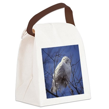 Snowy White Owl Canvas Lunch Bag