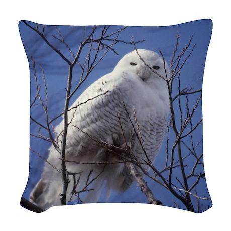 Snowy White Owl Woven Throw Pillow