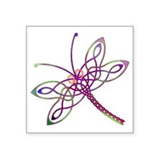"Celtic Dragonfly Square Sticker 3"" x 3"""