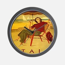 Vintage Woman Italy Beach Wall Clock