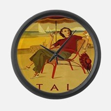 Vintage Woman Italy Beach Large Wall Clock