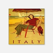 "Vintage Woman Italy Beach Square Sticker 3"" x 3"""