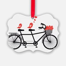 tandem bicycle with cute love bir Ornament