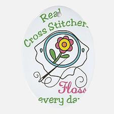 Real Cross Stitchers Oval Ornament