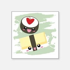 "Kawaii Sushi Square Sticker 3"" x 3"""