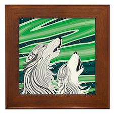 Howling Aurora Huskies Framed Tile
