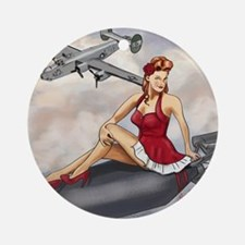Bomber Girl WWII Pin-Up Round Ornament