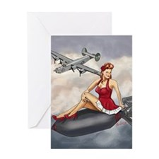 Bomber Girl WWII Pin-Up Greeting Card