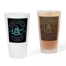 Square - Molon Labe - Blue Carved Drinking Glass