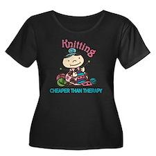 Cheaper  Women's Plus Size Dark Scoop Neck T-Shirt