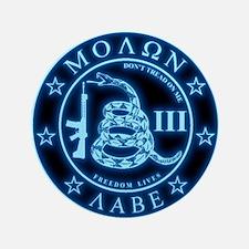 """Square - Molon Labe - Blue Glow 3.5"""" Button"""