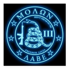 "Square - Molon Labe - Bl Square Car Magnet 3"" x 3"""