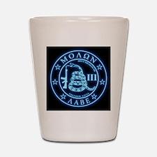 Square - Molon Labe - Blue Glow Shot Glass