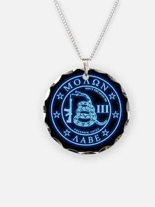 Square - Molon Labe - Blue G Necklace Circle Charm
