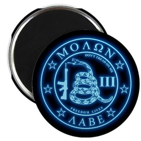 Square - Molon Labe - Blue Glow Magnet