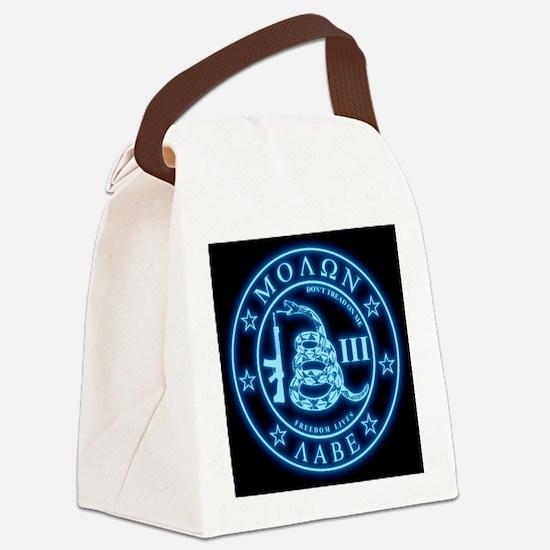 Square - Molon Labe - Blue Glow Canvas Lunch Bag