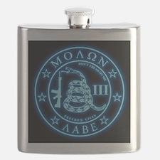 Square - Molon Labe - Blue Glow Flask