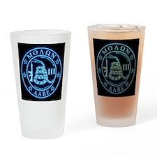 Square - Molon Labe - Blue Glow Drinking Glass