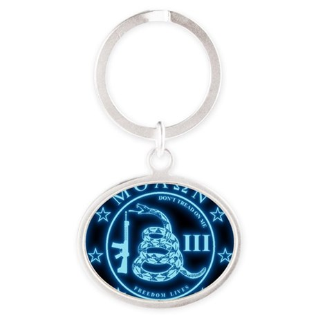 Square - Molon Labe - Blue Glow Oval Keychain