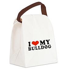 IHeartBulldog.jpg Canvas Lunch Bag