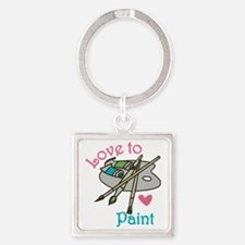 Love To Paint Square Keychain