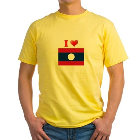I love Laos Flag Yellow T-Shirt