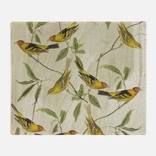Vintage Yellow Birds Throw Blanket