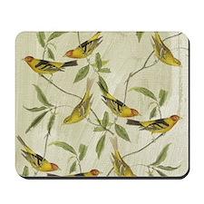 Vintage Yellow Birds Mousepad