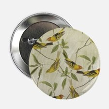 "Vintage Yellow Birds 2.25"" Button"