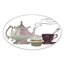 Pink Teapot, Teacup and Cupcake Decal
