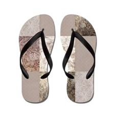 Alice in wonderland collage Flip Flops
