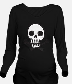 Cartoon Skull Long Sleeve Maternity T-Shirt