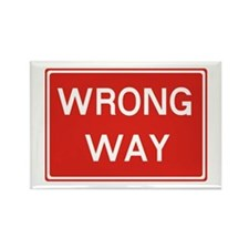 SIGN WRONG WAY - RED Rectangle Magnet