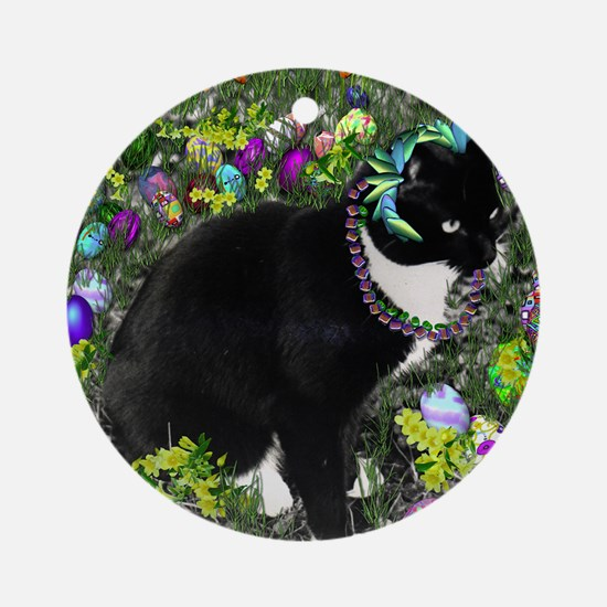 Freckles the Tux Cat in Easter Eggs Round Ornament