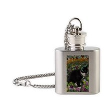 Freckles the Tux Cat in Easter Eggs Flask Necklace