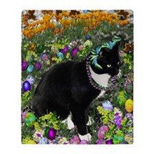 Freckles the Tux Cat in Easter Eggs Throw Blanket