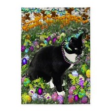 Freckles the Tux Cat in Easter Eggs 5'x7'Area Rug