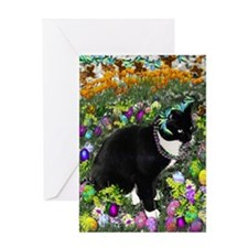 Freckles the Tux Cat in Easter Eggs Greeting Card