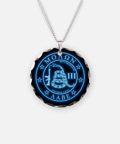 Come and Take It (Blueglow) Necklace Circle Charm