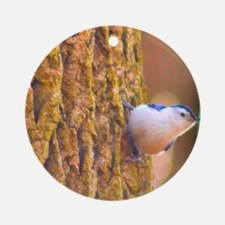 Larry the Nuthatch Round Ornament