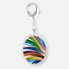 Colorful Abstract Silver Oval Charm